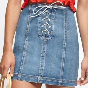 Pacsun Light Wash Lace Front Tie Up Denim Skirt